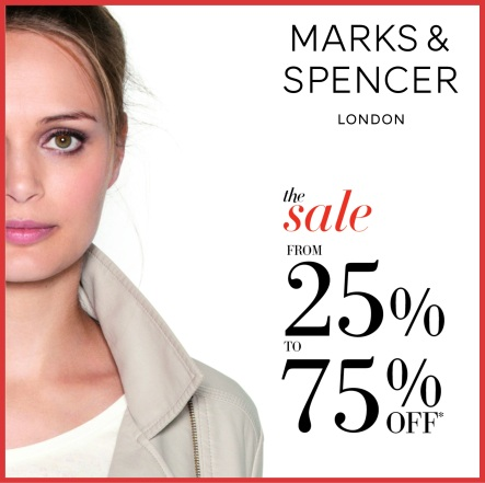 25 to 75% off at Marks and Spencer
